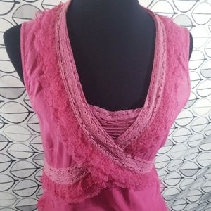 Odille Pink lace Ruffle Sleevless Peplum Blouse
